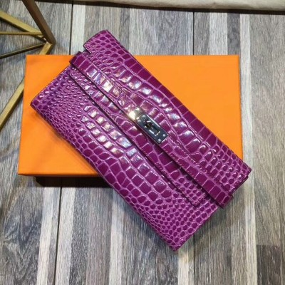 Hermes Kelly Wallet Alligator Leather Palladium Hardware In Purple