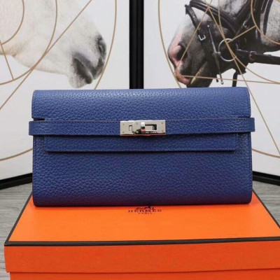 Hermes Kelly Wallet Epsom Leather Palladium Hardware In Blue