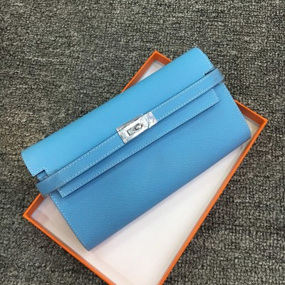 Hermes Kelly Wallet Epsom Leather Palladium Hardware In Light Blue