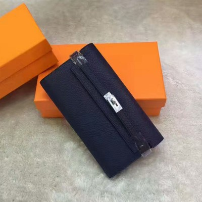 Hermes Kelly Wallet Epsom Leather Palladium Hardware In Navy Blue