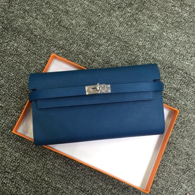 Hermes Kelly Wallet Epsom Leather Palladium Hardware In Peacock Blue