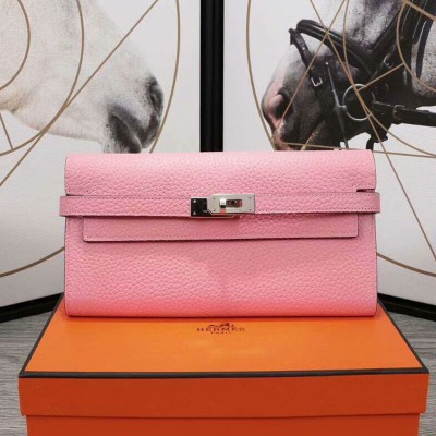 Hermes Kelly Wallet Epsom Leather Palladium Hardware In Pink