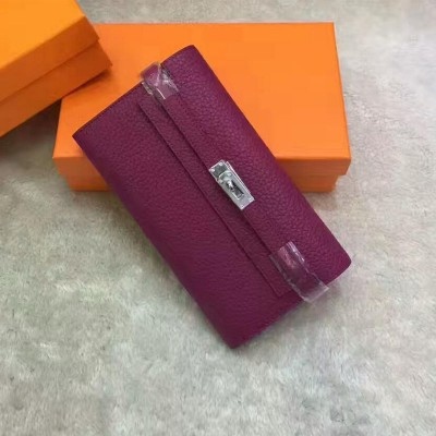 Hermes Kelly Wallet Epsom Leather Palladium Hardware In Purple