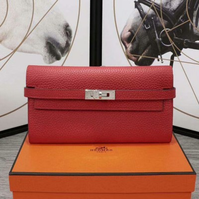 Hermes Kelly Wallet Epsom Leather Palladium Hardware In Red