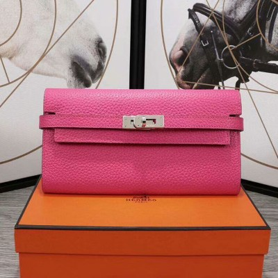 Hermes Kelly Wallet Epsom Leather Palladium Hardware In Rose