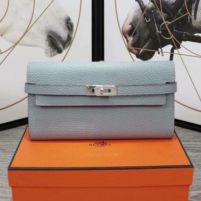 Hermes Kelly Wallet Epsom Leather Palladium Hardware In Sky Blue