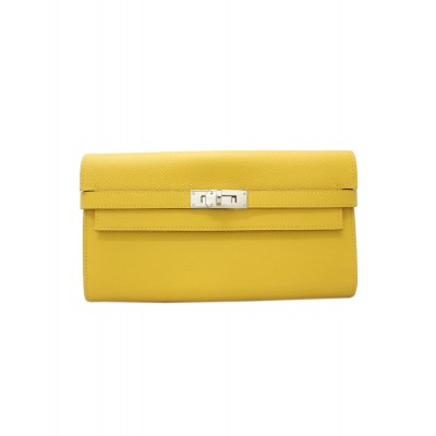 Hermes Kelly Wallet Epsom Leather Palladium Hardware In Yellow