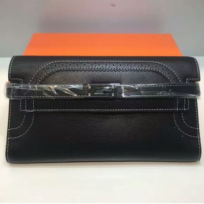 Hermes Kelly Wallet Swift Leather Palladium Hardware In Black