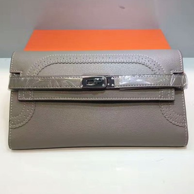 Hermes Kelly Wallet Swift Leather Palladium Hardware In Grey
