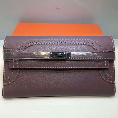 Hermes Kelly Wallet Swift Leather Palladium Hardware In Purple