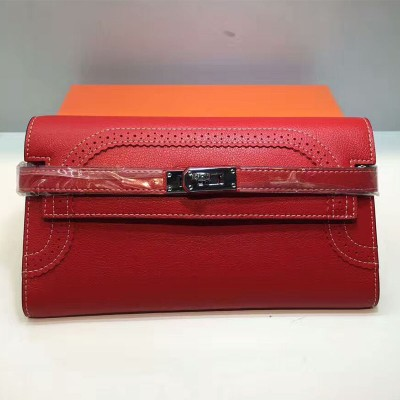 Hermes Kelly Wallet Swift Leather Palladium Hardware In Red