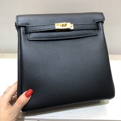 Hermes Kelly Ado Backpack Clemence Leather Gold Hardware In Black