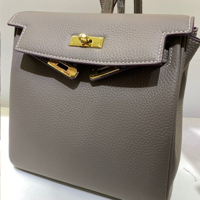 Hermes Kelly Ado Backpack Clemence Leather Gold Hardware In Grey