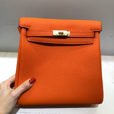 Hermes Kelly Ado Backpack Clemence Leather Gold Hardware In Orange