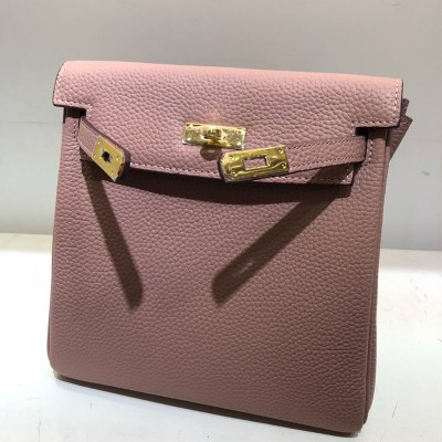Hermes Kelly Ado Backpack Clemence Leather Gold Hardware In Pink