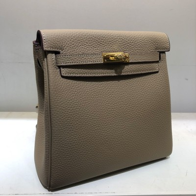 Hermes Kelly Ado Backpack Clemence Leather Gold Hardware In Taupe