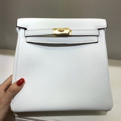 Hermes Kelly Ado Backpack Clemence Leather Gold Hardware In White