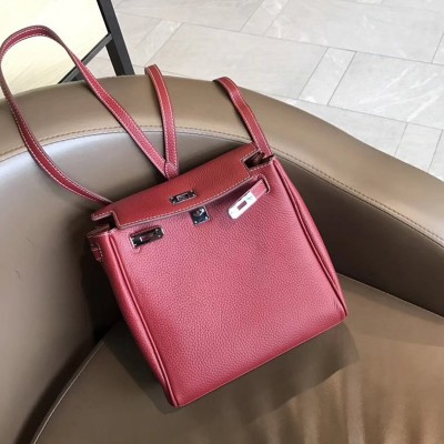 Hermes Kelly Ado Backpack Clemence Leather Palladium Hardware In Burgundy