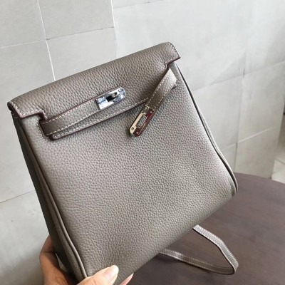 Hermes Kelly Ado Backpack Clemence Leather Palladium Hardware In Dark Grey