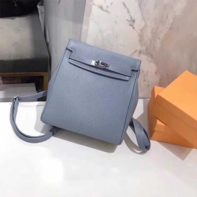 Hermes Kelly Ado Backpack Clemence Leather Palladium Hardware In Sky Blue