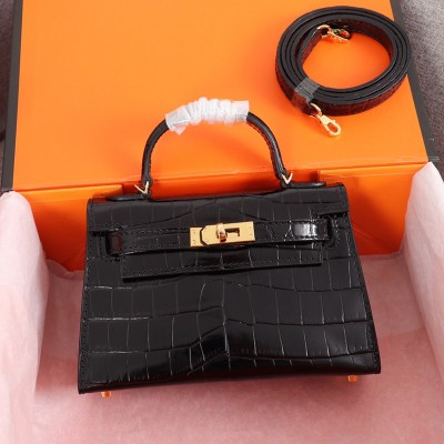 Hermes Kelly II Mini Bag Alligator Leather Gold Hardware In Black