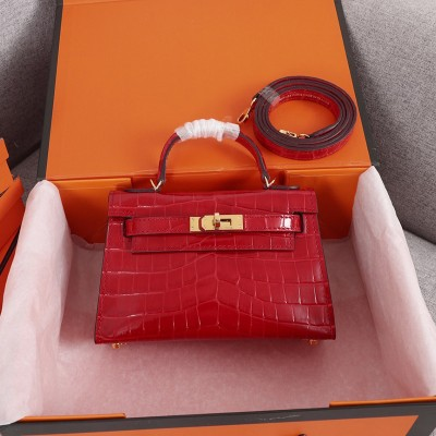 Hermes Kelly II Mini Bag Alligator Leather Gold Hardware In Red