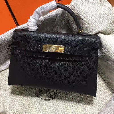 Hermes Kelly II Mini Bag Epsom Leather Gold Hardware In Black