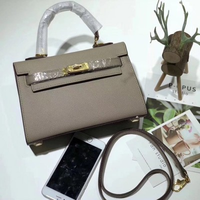Hermes Kelly II Mini Bag Epsom Leather Gold Hardware In Grey