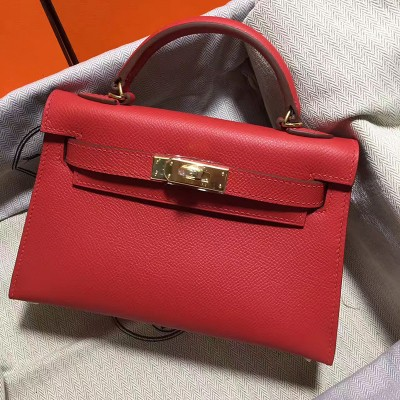 Hermes Kelly II Mini Bag Epsom Leather Gold Hardware In Red