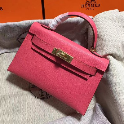 Hermes Kelly II Mini Bag Epsom Leather Gold Hardware In Rose