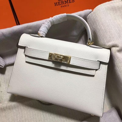 Hermes Kelly II Mini Bag Epsom Leather Gold Hardware In White