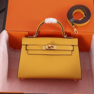 Hermes Kelly II Mini Bag Epsom Leather Gold Hardware In Yellow