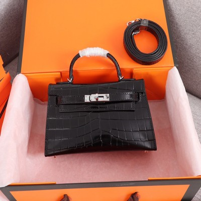 Hermes Kelly II Mini Bag Alligator Leather Palladium Hardware In Black