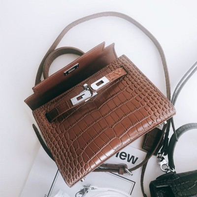 Hermes Kelly II Mini Bag Alligator Leather Palladium Hardware In Brown