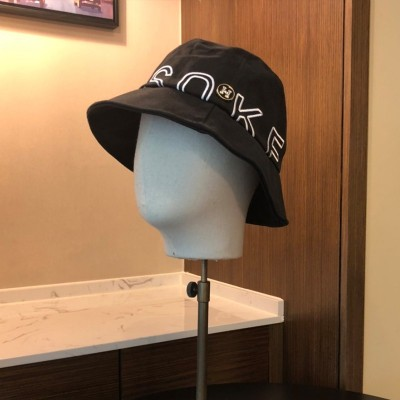 Hermes Letter Embroidery Bucket Hat In Black
