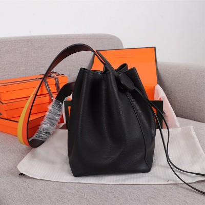 Hermes Licol Bag Evercolor Calfskin Palladium Hardware In Black