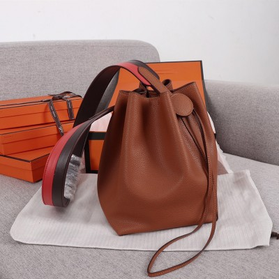 Hermes Licol Bag Evercolor Calfskin Palladium Hardware In Brown
