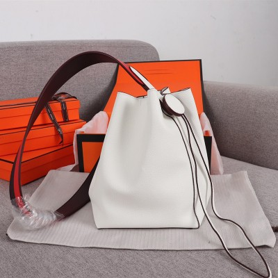 Hermes Licol Bag Evercolor Calfskin Palladium Hardware In White