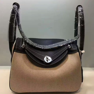 Hermes Lindy Bag Canvas Palladium Hardware In Black