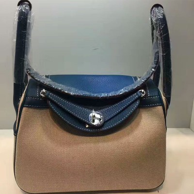 Hermes Lindy Bag Canvas Palladium Hardware In Blue