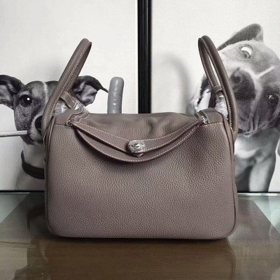 Hermes Lindy Bag Clemence Leather Palladium Hardware In Grey