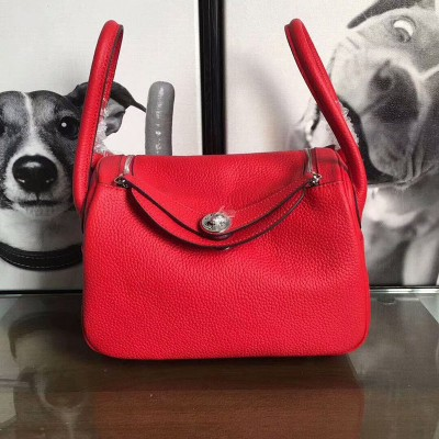 Hermes Lindy Bag Clemence Leather Palladium Hardware In Red