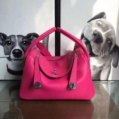 Hermes Lindy Bag Clemence Leather Palladium Hardware In Rose