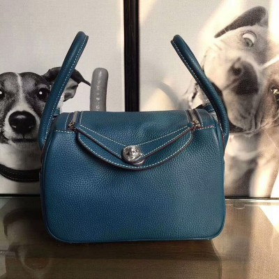 Hermes Lindy Bag Clemence Leather Palladium Hardware In Teal