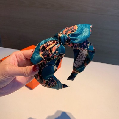 Hermes Logo Bow-knot Headband Peacock Blue