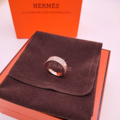 Hermes Mini Clous Ring With Crystal Rose