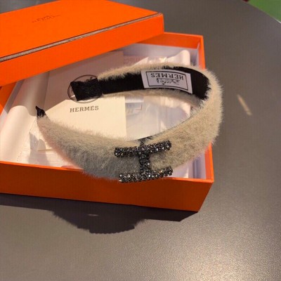 Hermes Mink Knitted Headband Apricot