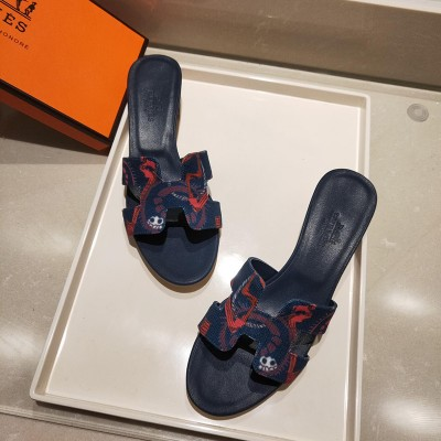 Hermes Oasis Sandal With Fantaisie Botanique Print Cotton Canvas Navy Blue