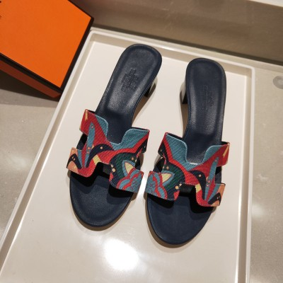 Hermes Oasis Sandal With Fantaisie Botanique Print Cotton Canvas Red