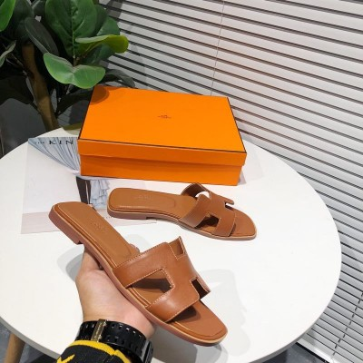 Hermes Oran Sandal Calfskin In Brown